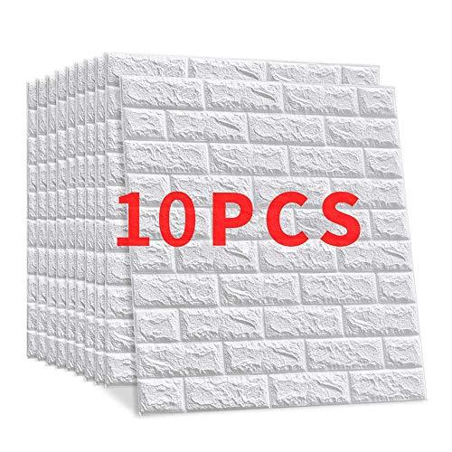 """10 Pieces PE mousse 3D brique de pierre Win-Y DIY Auto-Adhésif Autocollants Imperméable Papier Stickers muraux Autocollants Décor mur Stickers carrelage gaufrée Wall Stickers 23.6""""x23.6"""""""