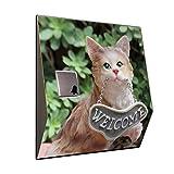Türklingel mit Funk Empfänger - Katze aus Ton mit Willkommen Schild Hausklingel, Form:Modell 3