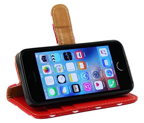 Emartbuy® Apple iPhone SE Brieftaschen Brieftasche Etui Hülle Case Cover aus PU Leder Polka Dots Rot Weiß mit Kreditkartenfächern Brieftasche Case Polka Dots Rot Weiß