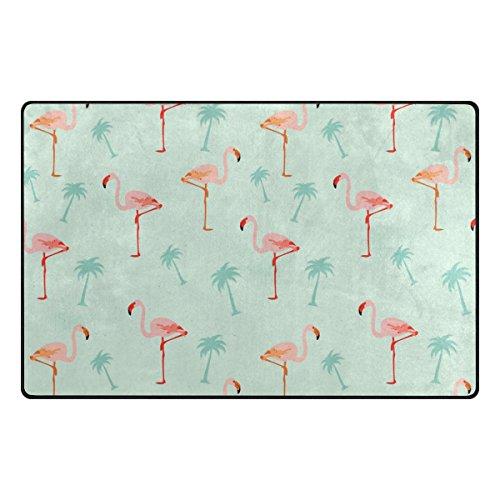 Bennigiry Aquarell Hibiskus Flamingo Bereich Teppich Teppich Rutschfeste Eintrag Bodenmatte Fußmatten für Wohnzimmer Schlafzimmer 78,7 x 50,8 cm (Hibiskus Fußmatten)
