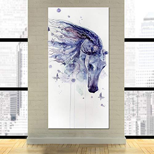 RTCKF HD Stampa Micro-Jet ad Alta Definizione Soggiorno murales Pittura Decorativa Acquerello Animale Cavallo Pittura Moderna Decorativa Senza Cornice E4 60cmx120cm
