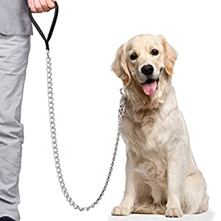 CtopoGo Premium Chain Heavy Duty Dog Leash - Soft Padded Leather Handle Lead - Perfect Basic Leashes Specifically Designed for Over 30KG Large Size Pets Walking (5.0mm x 1.2cm)