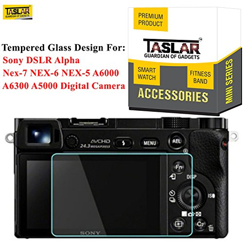 Taslar® Tempered Glass Screen Protector for Sony DSLR Alpha Nex-7 NEX-6 NEX-5 A6000 A6300 A5000 Digital Camera,(Transparent)  available at amazon for Rs.599