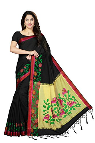 Rani Saahiba Art Dupion Silk Applique Embroidered Saree ( PDM1_Black )