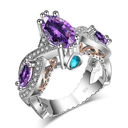 ZHOUYF RING Verlobungsringe Lila Zirkon Stein Ring Für Frauen Vintage Schmuck Silber Farbe Braut Engagement Hochzeit, 10#