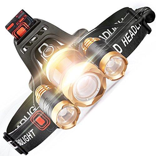 LED Kopflampe,Taschenlampe Outdoor 4 Modi CREE Stirnlampe Wasserdicht Flashlight Aufladbare USB mit 18650 Batterien Zoombar 5000 Lumen für Wandern Camping Mountainbike Keller Jogging Fishing Laufen