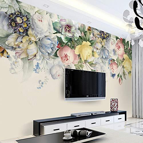 Rose Floral Wallpaper (BZXJJ Tapete 3D Wandbild Wallpaper Floral Wohnzimmer Tv Hintergrund Foto Rose Flower Art Mural, 1 ㎡)