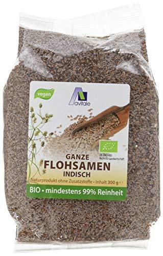 Avitale Ganze Flohsamen aus Indien, 99% Reinheit, reich an Ballaststoffen, Bio-Ware - Geprüfte Qualität aus Indien - Verpackt in Deutschland, 1er Pack (1 x 300 g)
