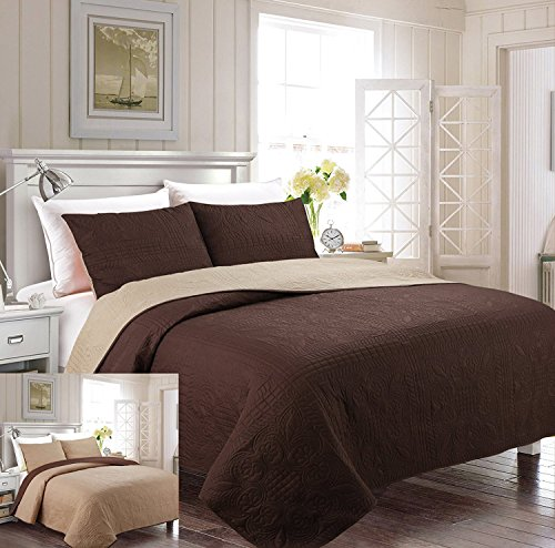 Linen Plus Bettwäsche-Set für King-Size/California King-Size-Betten, 3-teilig, einfarbig, Braun/Taupe - California King-size-bett Bettdecken