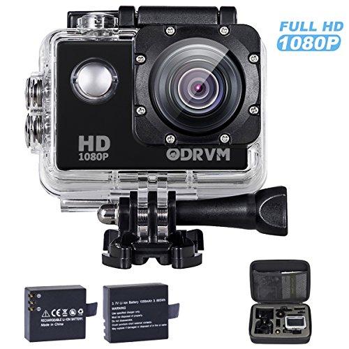 1080P HD Action cam 12MP Actioncam mit 2 kostenlose 1050mAh Akkus und 20 Action cam zubehör set für Extremsport, Wassersport, Schwimmen, Surfen, Tauchen, Outdoor-Sportaktivitäten, Fahrrad, Motorad, Reiten, Auto DVR