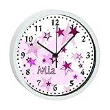 Wanduhr Kinder mit (Wunsch) Namen, Kinderuhr mit Analog - Ziffernblatt, Uhren - Rahmen weiß ohne Tickgeräusche ideal für das Kinderzimmer , Wanduhr als Geschenk für ein Kind, Motiv Sterne rosa