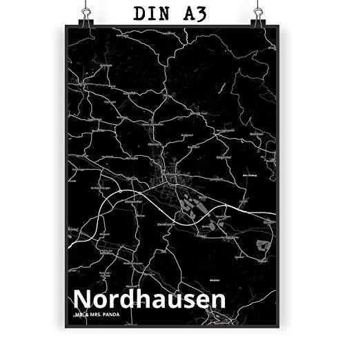 Mr. & Mrs. Panda Poster DIN A3 Stadt Nordhausen Stadt Black - Stadt Dorf Karte Landkarte Map Stadtplan Wandposter, Bild, Fan, Fanartikel, Souvenir, Andenken, Fanclub, Stadt, Mitbringsel