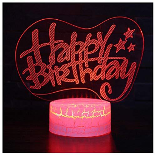 Alles Gute Zum Geburtstag Thema 3D Lampe Led Nachtlicht 7 Farbwechsel Stimmung Lampe Home Decoration-remote control (Geburtstag Autos Thema)
