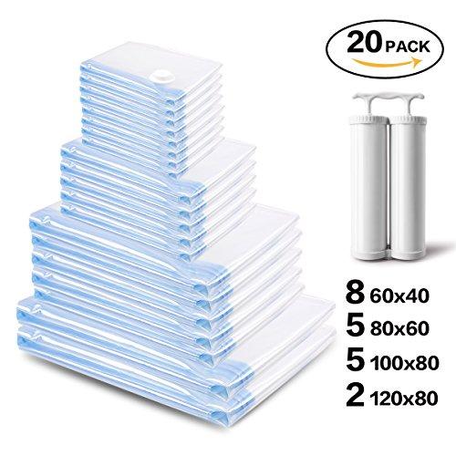 Sacchetti sottovuoto salvaspazio 20 pezzi(8*s(60*40cm)+5*l(80*60cm)+5*xl(100*80cm)+2*jumbo(120*80cm)), fino al 80% di risparmio di spazio, perfetto per la conservazione di asciugamani, piumini, lenzuola, cuscini, coperta e vestiti di viaggio(contenere 2con pompa)
