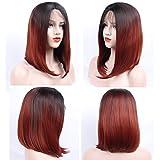 zeroblizzard Lace-Front-Perücke, kurz, glatt, Bob-2, aus Ton, Rot, für Damen, hitzebeständig, Haar-Perücken mit Baby-Haar, gebleicht, Knoten, gebunden