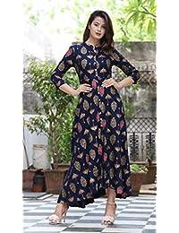 PURE COMFORT Women's Cotton Full Flare Party Wear And Casual Wear Long Kurti For Women, Kurtis For Women, Jaipuri...