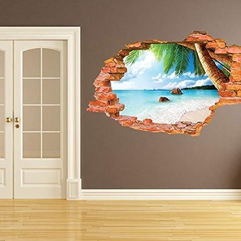 3D Self-adhesive Break attraverso la parete rimovibile in vinile, arte murale, decorazione 8001F Coconut Sea Beach(60*90cm)