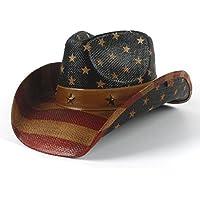 Sombrero de Vaquero de Bandera Americana para Mujeres y Hombres Sombrero de  Jazz Sun Hat ( 6ad39ed2772