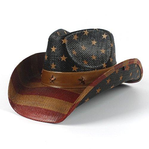 Shuo lan Amerikanische Flagge Cowboy-Hut für Frauen und Männer Sun Hat Jazz Hat (Farbe : Schwarz, Größe : 58-59cm) (Farben Amerikanischen)