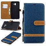 Samsung Galaxy J6 Plus 2018 Hülle,[ Shock Absorbent ] Closed PU Leder Kartenschlitz Brieftasche Hülle dauerhaft Flip Hülle zum Samsung Galaxy J6 Plus 2018 Dark Blue