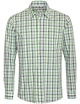 Almsach Trachtenhemd Edgar Regular Fit Zweifarbig in Hellgrün und Dunkelgrün Inklusive Volksfestfinder