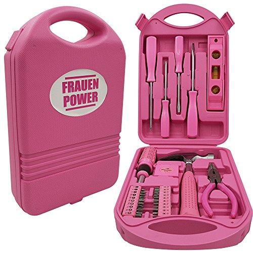 Power-Preise24 Werkzeugkoffer Frauenpower Mini in Pink - 28-Teiliges Werkzeug Set - mit Hammer, Schraubenschlüssel, Zange, Maßband,...