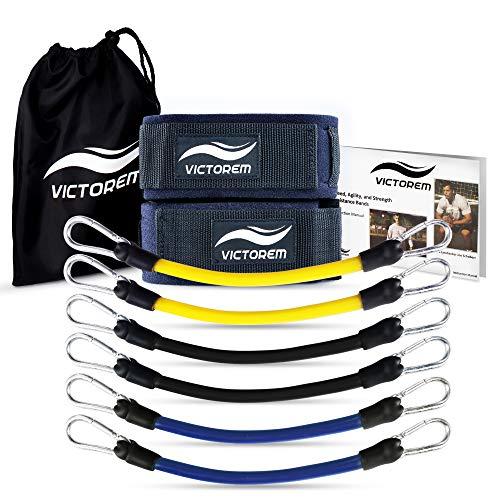 Victorem Speed & Agility Widerstandsbänder Bein - Ultimate Speed Fitnessband Set zur Steigerung der Muskelausdauer beim Sport – Fitnessbänder für Fußball, Basketball, Leichtathletik, Football
