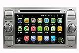 (Silber) 7 Zoll Doppel Din Android 5.1 Lollipop OS Autoradio für Ford Focus(2005-2007)/Fiesta(2005-2008)/Kuga(2008-2011)/Mondeo(2003-2007)/S-MAX(2007-2009)/C-MAX(2007-2009)/Galaxy(2005-2007)/Fusion(2006-2011), kapazitiver Touchscreen mit Quad Core 1.6G Cortex A9 CPU 16G Flash und 1G DDR3 RAM GPS Navi Radio DVD Player 3G/WIFI Aux Input OBD2 USB/SD DVR
