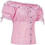 PAULGOS Trachtenbluse Kariert in 7 Farben Gr. 34-50 Carmenbluse, Damen Größe:42, Farbe:Pink