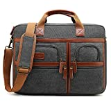 CoolBell Laptop Aktentasche 17 Zoll schützend Messenger Bag Umhängetasche Herren Businesstasche Arbeitstasche Notebook Schultertasche Multifunktional Henkeltasche Laptoptasche für MacBook,Canvas Grau