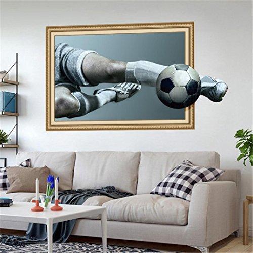 (TWBB 2018 Neu Weltmeisterschaft 3D Fußball 9. Athlet und Treten Ball Aktion Schlafzimmer Aufkleber abnehmba Wandaufkleber (A))
