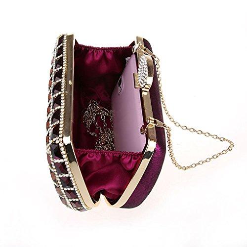 KAXIDY Luxe Cristal de Diamant Sacs de Soirée Embrayages Soirée Porte monnaie Sac à Main (Noir) Violet