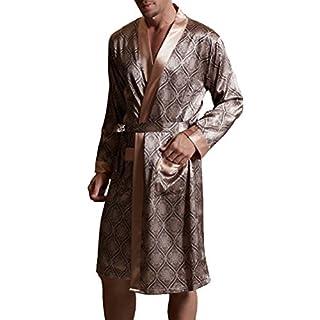 Amybria Männer Qualitäts Seide Pyjamas Nightgown/Bademantel Kaffee Farbe Größe M/38