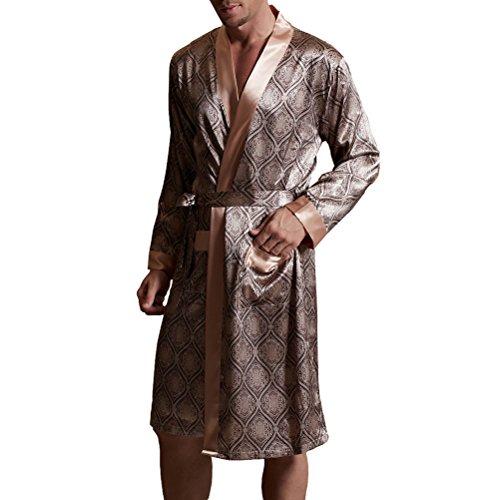 Amybria Männer Qualitäts Seide Pyjamas Nightgown/Bademantel Kaffee Farbe Größe L/40 (Seide Herren Bademantel)