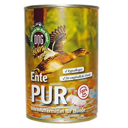 Artikelbild: DOGREFORM Ente PUR 6 x 410 g Nassfutter auch für empfindliche bis sehr empfindliche Hunde getreidefrei glutenfrei geeignet zum BARFen