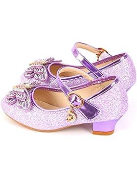 YOGLY Zapatos para Niñas Princesa Zapatos Tacones Altos Baile Zapatos de Niña Lentejuelas Mariposa