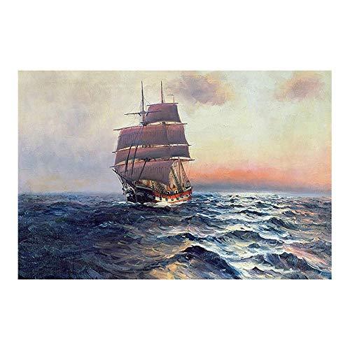 ZKPWLHS Leinwanddrucke Leinwand Wandkunst Malerei 1 Stück Segelschiff Meer Bilder Drucke Segelboot Welle Seascape Poster Wohnkultur Mit Rahmen 60X90 (Größe A)