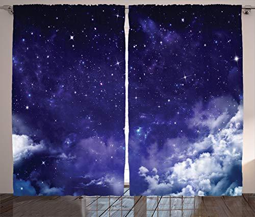 ABAKUHAUS Platz Rustikaler Gardine, Verträumte Nacht mit Sternen, Schlafzimmer Kräuselband Vorhang mit Schlaufen und Haken, 280 x 175 cm, Lila Weiß -
