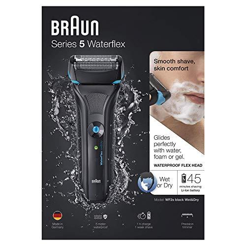 Braun Series 5 WaterFlex WF2s elektrischer Rasierer, Wet und Dry, wiederaufladbar und kabellos, schwarz -