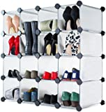 Andrew James Shoe Rack Organiser In White, With 16 Interlocking Compartments