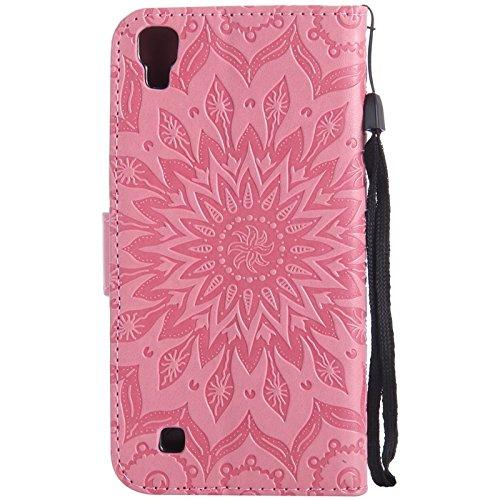 YHUISEN LG X Power Case, Sun Flower Druck Design PU Leder Flip Wallet Lanyard Schutzhülle mit Card Slot / Stand für LG X Power ( Color : Blue ) Pink