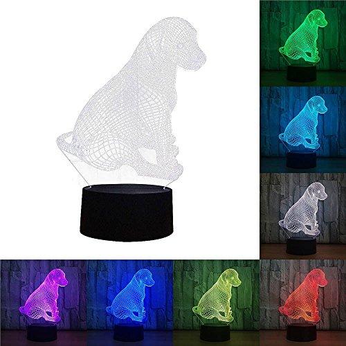 XZANTE Luz de noche de perro sentado acrilico 3D Lampara de escritorio LED de cambio de 7 colores Toque Decoracion de habitacion Regalo