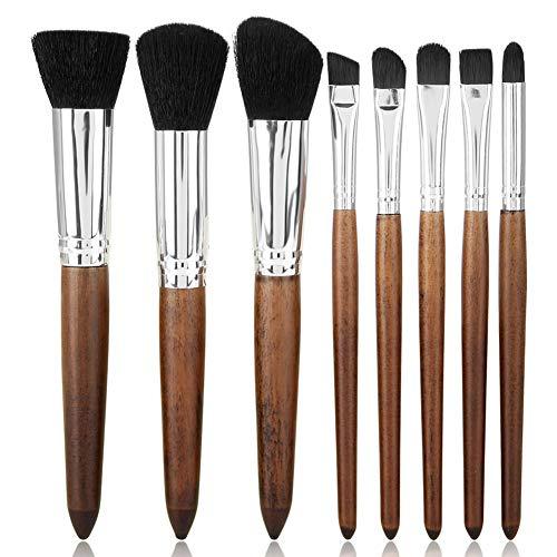 Sistema profesional de los cepillos del maquillaje, 8pcs Cepillos del maquillaje del sándalo de la imitación Mango de madera herramientas del maquillaje del cono de la fibra(Black 02)