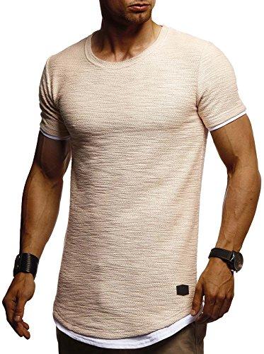 Leif Nelson Herren Sommer T-Shirt Rundhals-Ausschnitt Slim Fit Baumwolle-Anteil Moderner Männer T-Shirt Crew Neck Hoodie-Sweatshirt Kurzarm lang LN8223 Beige XX-Large
