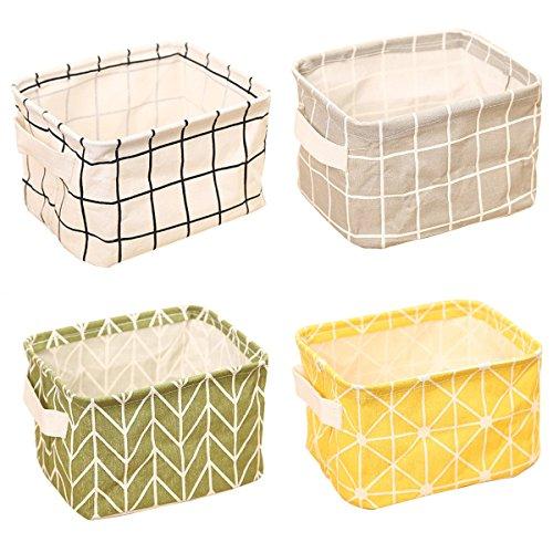 ZhengYue 4 Pack of Folding Aufbewahrungskorb, Small Baby Linen Storage Organizer Sets Plastic Storage Box Organizer (Korb Storage-set)