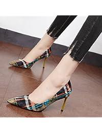 Xue Qiqi Escarpins À la lumière de souliers pour les petites chaussures femme unique couleur couture fashion conseils très bien avec des chaussures à haut talon graffiti tide,37, Rose