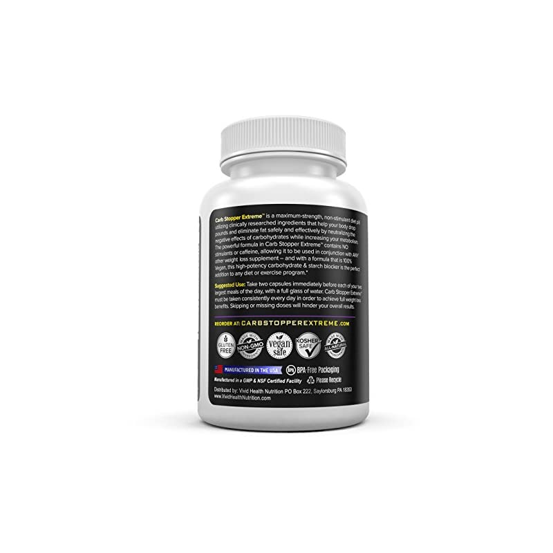 CARB STOPPER EXTREME (3 Bottles) – Maximum Strength Carbohydrate & Starch Blocker Weight Loss Supplement with White…