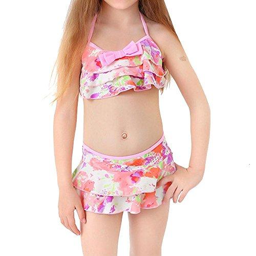 NACHEN Kinder Badeanzug sitzt Mädchen Split Rock 2 Stück Bademode , pink , s