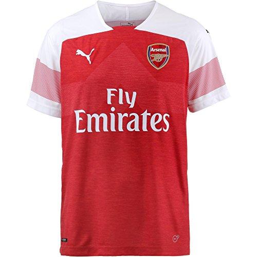 Puma Herren Arsenal FC Home Shirt Replica SS with EPL Sponsor Logo Trikot, Heather-White-Chili Pepper, M