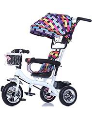 Niño de interior al aire libre Pequeño triciclo bicicleta Niño de la bicicleta de la niña para 6 meses -6 años de edad bebé tres ruedas Trolley Toldo, rueda de plástico sólido ( Color : #14 )